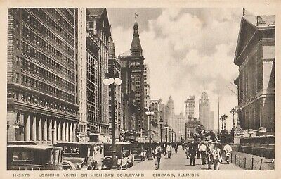Vintage Postcard - FRED HARVEY - LOOKING NORTH ON MICHIGAN BLVD - CHICAGO, IL