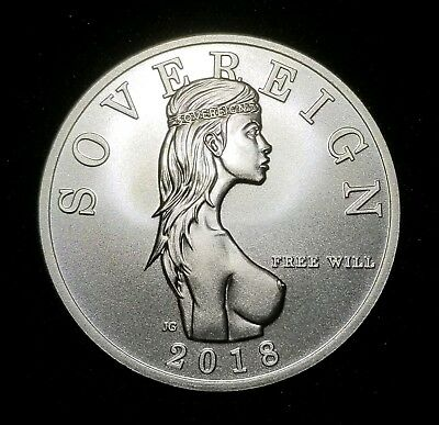 2018 Free Will Sovereign 1 Troy oz .999 Fine Silver Bullion BU Round