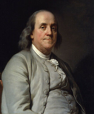 Benjamin Franklin Portrait Oil Painting Hand Painted on Museum Quality Canvas