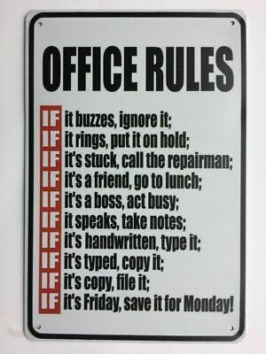 Office Rules Metal Novelty 12x8 Tin Sign,