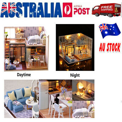 DIY House Kit Wooden House Educational Toy Room Model with Furnitures for Gift