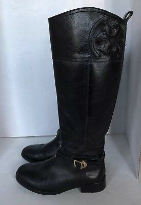 4668f9528144 TORY BURCH MARLENE Black riding boots zipper leather 8 Ankle Slipper ...