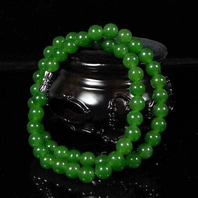 Beautiful Chinese Handcraft Natural Green Jade round bead pendant Necklaces