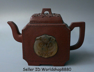 "6.8""Marked Old China Yixing Zisha Redware Inlay Jade Bat Handle Teapot Teakettle"