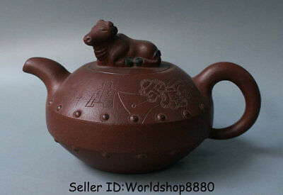 "7.2"" Marked Old China Yixing Zisha Redware Dynasty Horse Handle Teapot Teakettle"