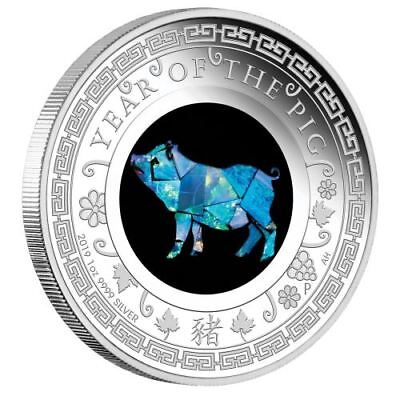 2019 Opal Lunar Series - Year of the Pig 1oz Silver Proof Coin Australian