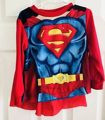 69e2dc05b SUPERMAN DC Kids Toddler Boys Cape T-Shirt Top Size 4T Long Sleeve Red Blue
