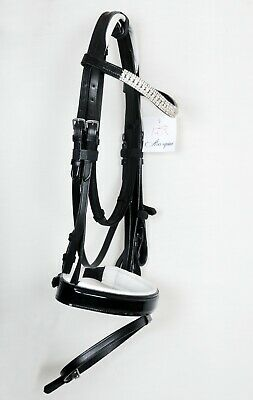 New Leather Show Horse Bridle Diamante Browband Black/White Padded (Full Size)