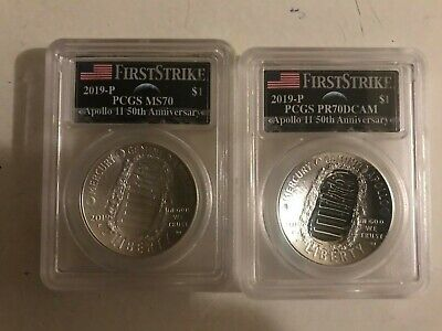 2019 P $1 Silver Apollo PCGS MS70 & PR70DCAM First Strike Earth Moon  2 Coin Set