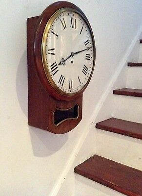 Large Victorian Walnut Drop Dial Fusee Wall Clock Railway Station School House