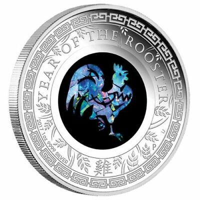 Opal Lunar Series -2017 Year of the Rooster 1oz Silver Proof Coin Australia