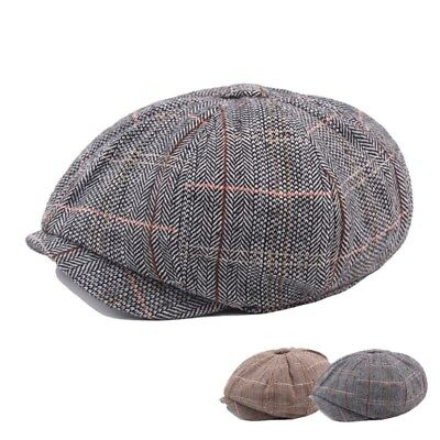 Men Women Herringbone Gatsby Newsboy Hat Cotton Linen 8 Panel Baker Flat Cap