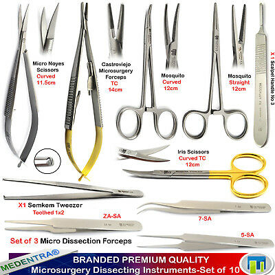 Microsurgery Dissecting Surgical Instruments Kit Suturing Needle Holder Scissors