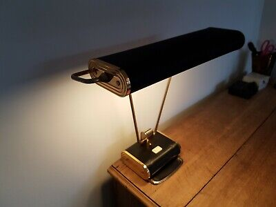 Antique vintage 1930s Eileen Gray Jumo art deco lamp - grey/green and chrome