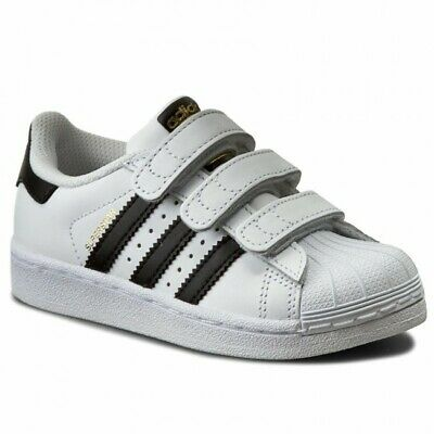 separation shoes faf40 285df Scarpe Bambini Adidas Superstar Foundation B26070 Bianco Nero Sneakers 31.5  Nuov
