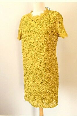 Zara Mustard Yellow Embroidered Contrast Lace Guipure Dress