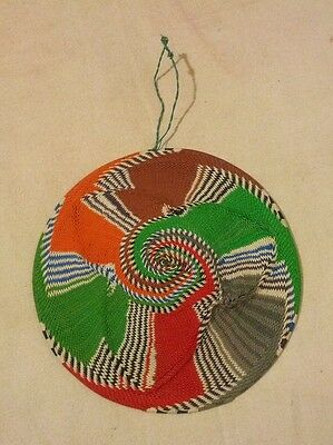 Carribean Festival African Zulu Telephone Wire Bowl Basket - Bright Multicolored