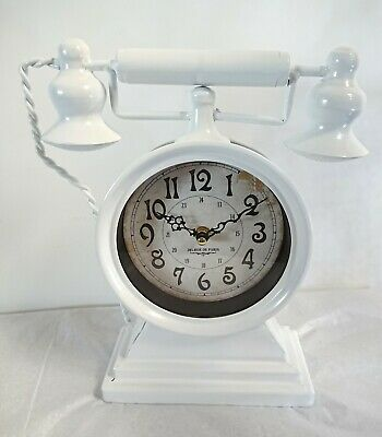 Old Fashioned Vintage Telephone Table Mantel Clock Shabby Chic