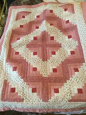 "NEW Handmade Machine Stitched Crib Quilt In Log Cabin Pattern - 37.5"" x 51"""