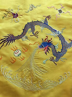 "Antique Silk Hand Embroidered Piano Shawl Multi Color Work Pure Silk 41"" By 40"""