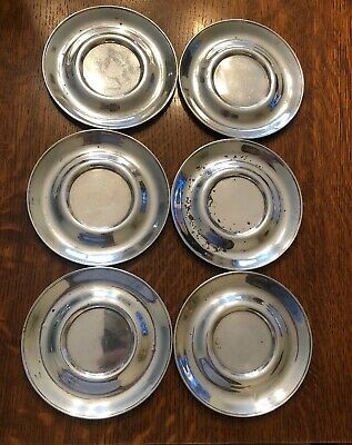 Antique Gorham Set of 6 Sterling Silver Rare A7423 Saucers / Plates Not Scrap