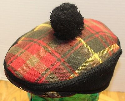 c0bfe7290a4 Vintage Piccadilly Plaid Tam Hat Size Medium Made In England Acrylic wool  Vgc