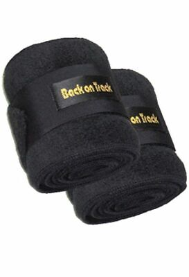 "BACK ON TRACK Equine Horse Polo Leg Wraps Fleece Heat Therapy Black 11"" Pair"