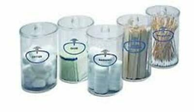 Sundry Set Clear Plastic Labeled Jars 5 Count 6 1/2'' x 4 3/8'' Reusable Storage