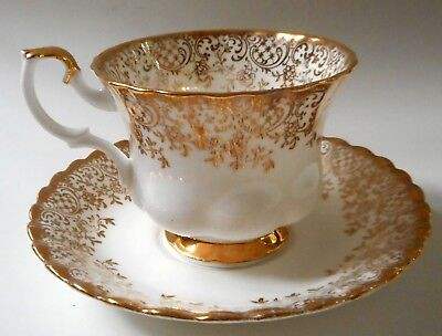 ROYAL ALBERT Cup & Saucer White Gold Floral Chintz Bone China England