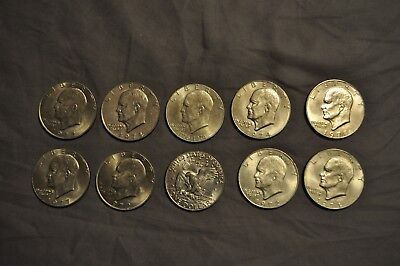 Eisenhower Ike Dollar Hoard - Lot of 10 total coins, including one bicentennial
