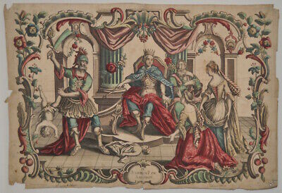 "Antique Color Engraving ""Judgment of Salomon"" 18th to 19th c."