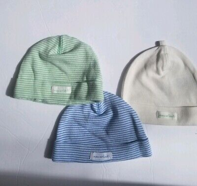 b89ced612429d H M Organic Cotton Infant Beanie Hat Lot of 2 Ivory Green Blue 2-4 months