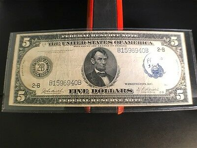 1914 $5 Federal Reserve Large Note with Blue Seal Ungraded