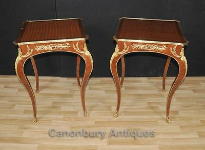 Pair Empire Side Tables - Cocktail French  Parquetry Inlay