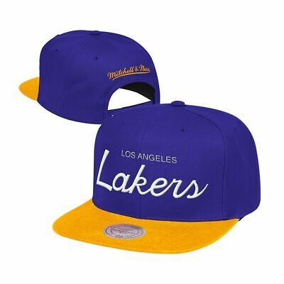 Los Angeles Lakers Mitchell   Ness NBA Classic Script Adjustable Snapback  Hat 46546aace04a