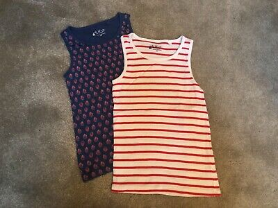 NEW Next Girls Vests Tops Pack Of 2 Age 8 Strawberry Design/Red Stripe