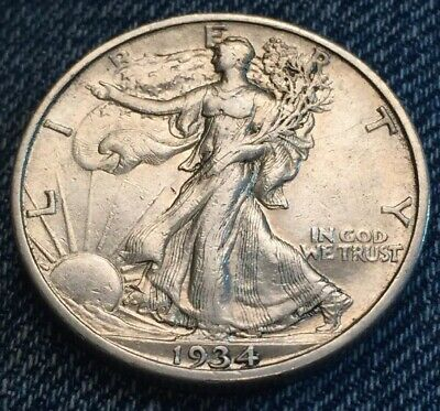 1934 S Silver Walking Liberty Half Dollar - Low Mintage - Strong Extra Fine.