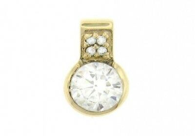 0.52 ct H VS natural round diamond bezel solitaire pendant 14k yellow gold 11 mm