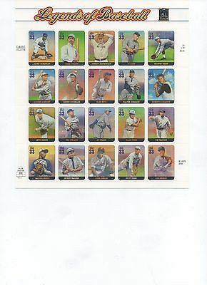 U.S. PANE OF 20 SCOTT#3408 2000 33ct LEGENDS/BASEBALL VAR P#'s MNH BELOW FACE