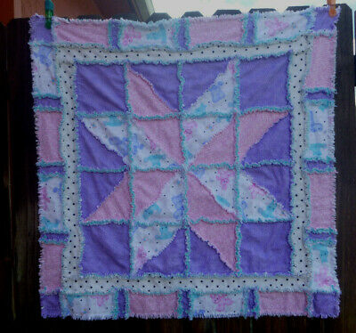 Baby Girl Rag Quilt  cotton flannel, pinks, aqua, purple Baby Shower Gift