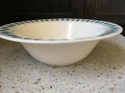One (1) Homer Laughlin Turquoise Grey Diamond Serving Bowl
