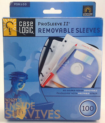 Case Logic ProSleeves for CD and DVD - Two Sided Sleeves 50 Pack Stores 100 CDs