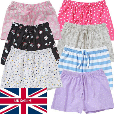 Cozy n Dozy Girls Pyjama Sleep Shorts Bottoms Cotton Separates Pink Blue 7-13