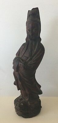 Antique 1930's Hand Made/Carved Wood Chinese Woman Statue Figurine C1