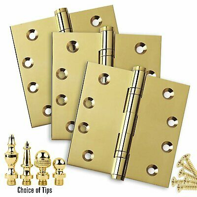 Door Hinges 4 x 4 Solid Brass Ball Bearing Polished Brass with Tips - Set of 3