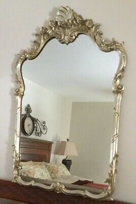 LaBarge Silver Gold Gilt French Louis XV Style Mirror Elaborate Scrollwork