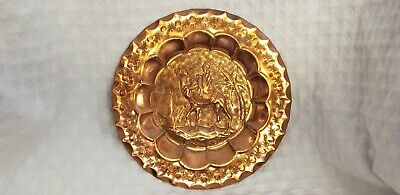 ANTIQUE HAND MADE ORNATE COPPER WALL DECOR PLATE PALM TREE, Camel, Bedouin