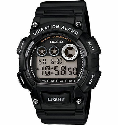 Casio W735H-1AV, Men's Digital Black Resin Band, 100 Meter WR, Vibration Alarm