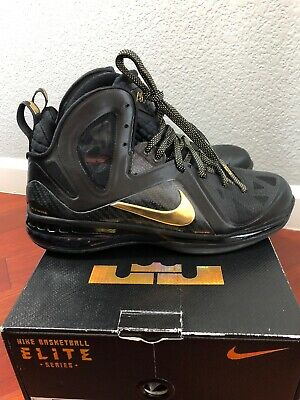 89a8cbaf9d48 Nike Air Max LEBRON IX 9 P.S. ELITE PLAYOFF AWAY BLACK GOLD Size 11 MSRP   250