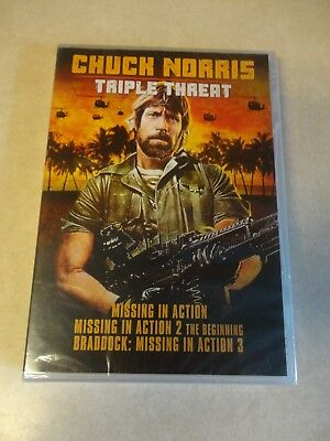 Chuck Norris Triple Threat: Missing in Action 1 2 3 (DVD) Brand New